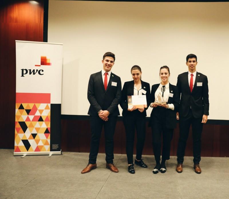 """Estudantes do IPCA arrecadaram o 1º prémio no desafio """"Tax Tank"""" da PwC"""