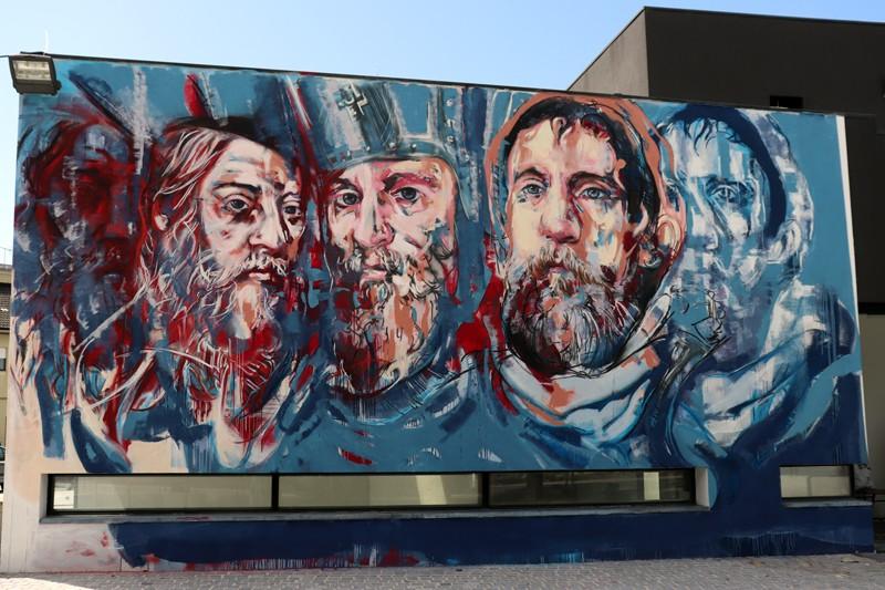 Mega mural na Praça do Comércio faz jus a Variações, Gualdim Pais e Sá de Miranda